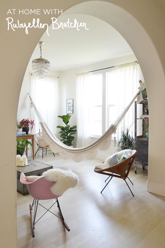 Hammock In The Living Room, Very Unexpected Beachhouse Love! // Via A  Beautiful Mess: At Home With Rubyellen Bratcher