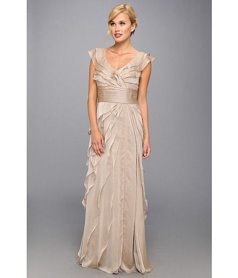 Multi tiered long capelet chiffon dress style 2495db tiered