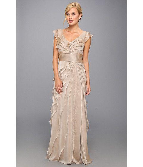 Adrianna Papell Long Irri Tiered Petal Dress Fawn - Zappos.com ...