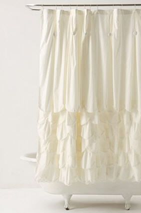Cream Ruffled Shower Curtain