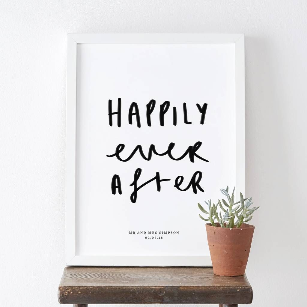Happily Ever After Typography Wedding Print (With Images