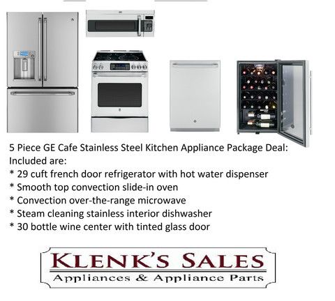 Klenku0027s Sales   Appliances And Parts   5 Piece GE Cafe Stainless Steel Kitchen  Appliance Package