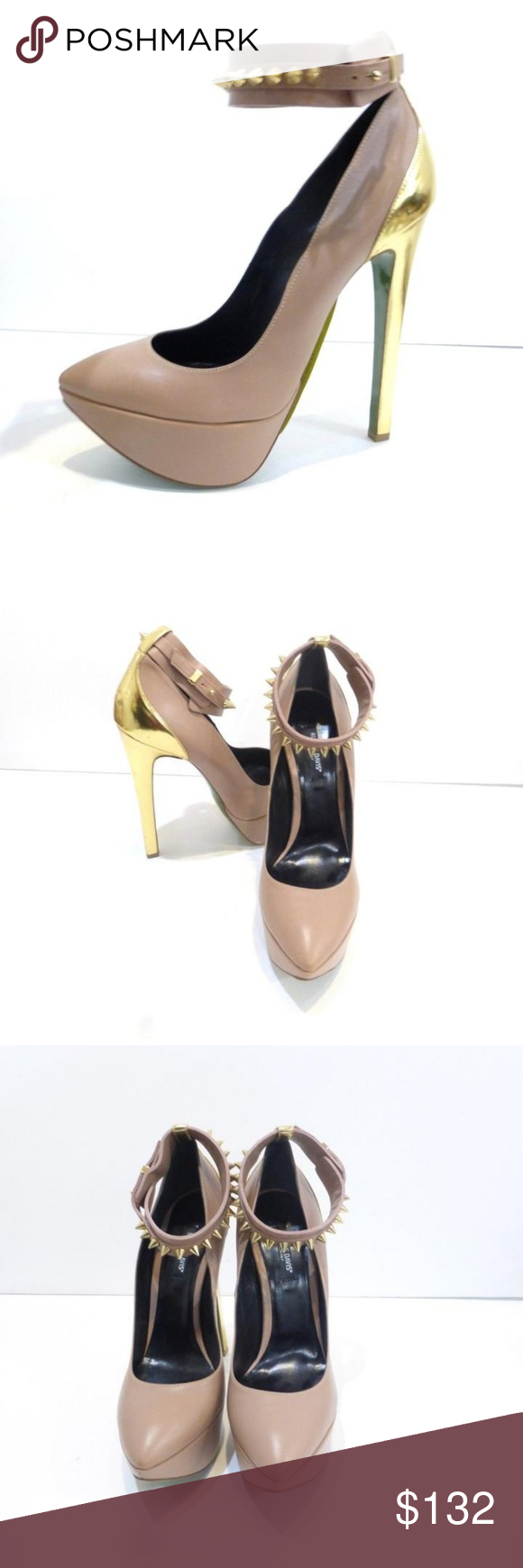 Ruthie Davis Blush Leather Pumps RUTHIE DAVISMade in ItalyNew without the box! Super-sexy Ruthie Davis blush leather platform pumps with a sexy ankle strap with stud detail and a gold leather heel!Ruthie DavisMade in ItalyNew, never wornSize 8.5Euro 38.5 (on shoe)Taupe/blush leather upperGold stud detailGold leather heel: 6