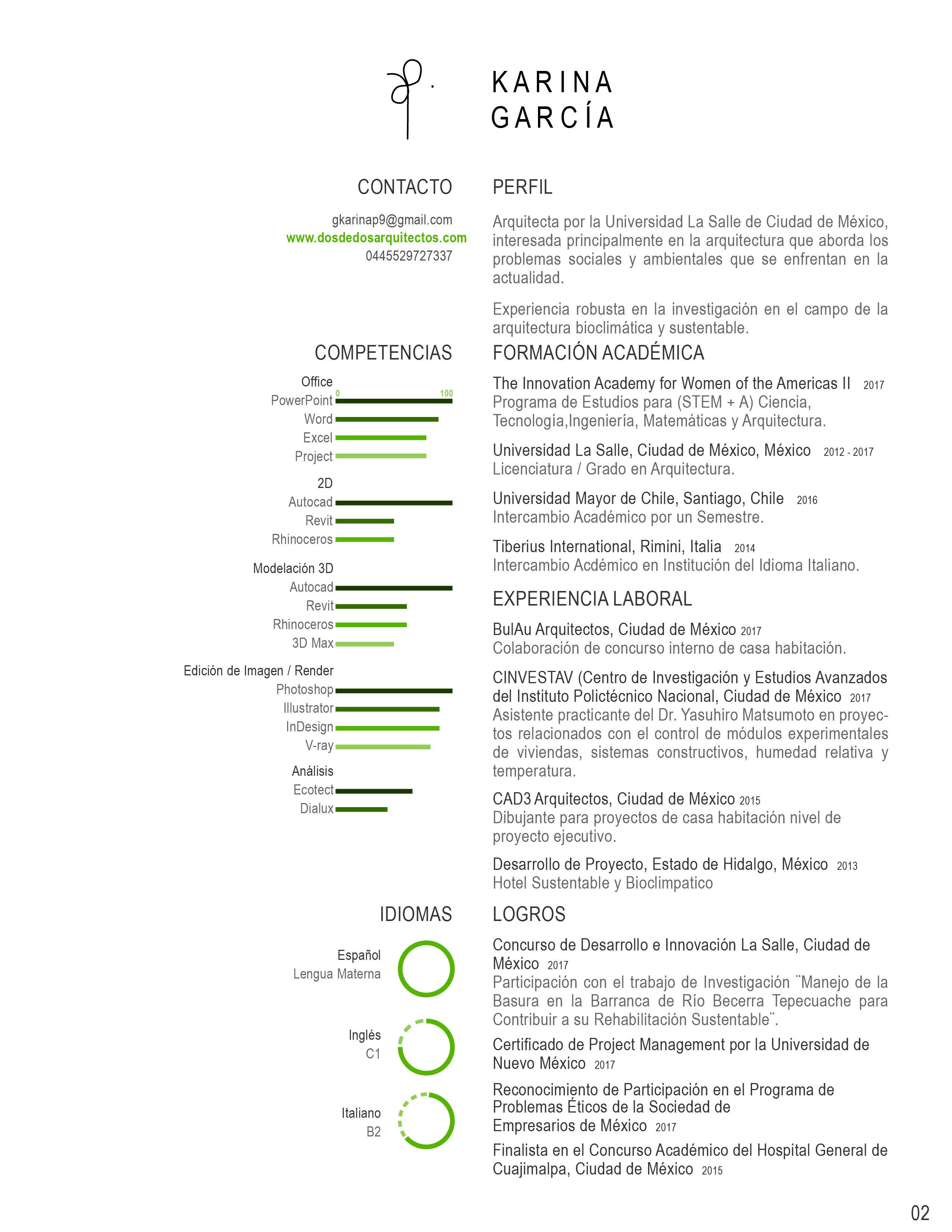 Curriculum Vitae Arquitectura. Grado en Arquitectura. Mexicana ...