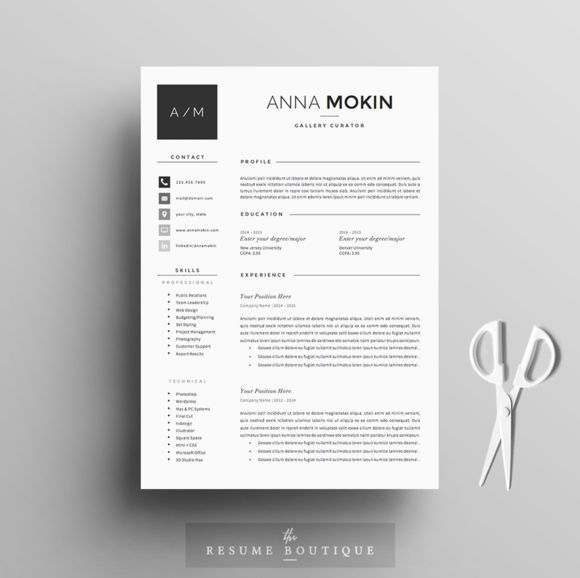 Resume Template 4page Smoke By The Resume Boutique On