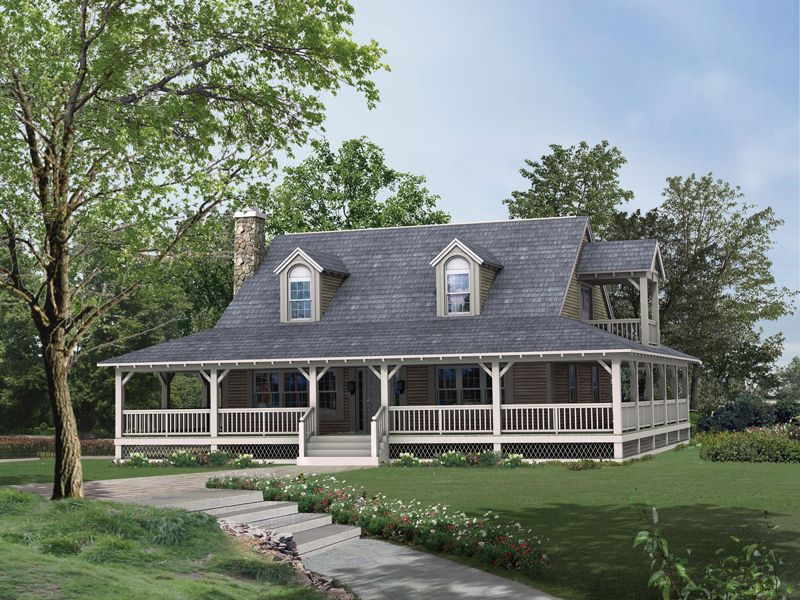Rhodes Country Home Farmhouse Plans Rustic House Porch Style