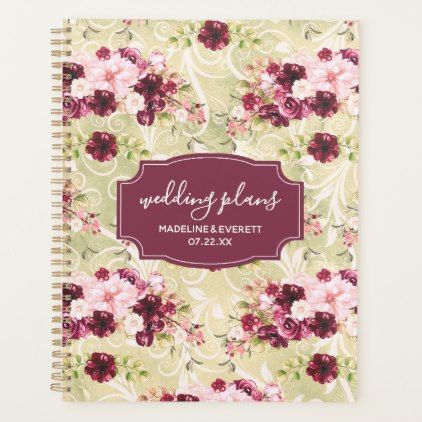 Burgundy Green  Blush Pink Floral Wedding Plans Planner flowers