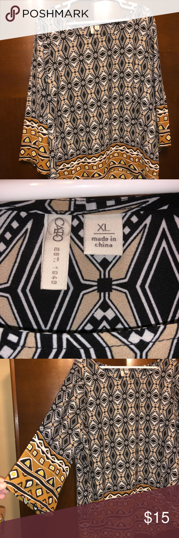 19aa951906 Beautiful geometric black/white/ brown blouse XL Beautiful geometric  designs soft flowy comfy shirt XL - Cato Cato Tops Blouses