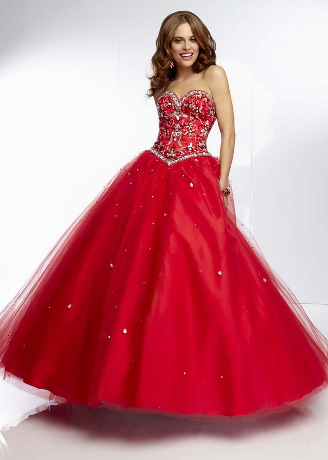 2015 Strapless Jeweled Beaded Red Mori Lee 95018 Ball Gown | Black ...