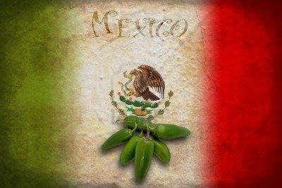 Typical Mexican food: green jalapeno on Mexico flag Stock Photo
