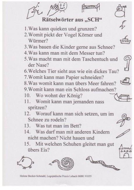 Rätsel: Wörter mit [sch] - Kindersprache | German Vocabulary and ...