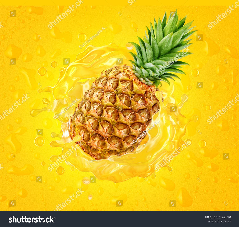 Fresh Ripe Pineapple And Pineapple Juice Splash Wave On Drops Background Healthy Food Or Tropical Juicy Pi Healthy Juice Drinks Pineapple Juice Ripe Pineapple