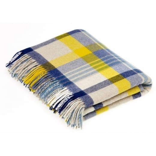 Bronte by Moon Merino Lambswool Melbourne Blue/Yellow Throw