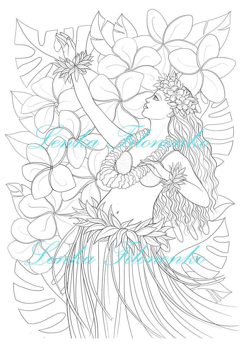 Coloring Page For Adults Hawai Hula Dancer Line Art Pdf