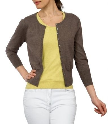 Brown Crew Neck Cropped Cardigan for Women in Silk & Cotton ...