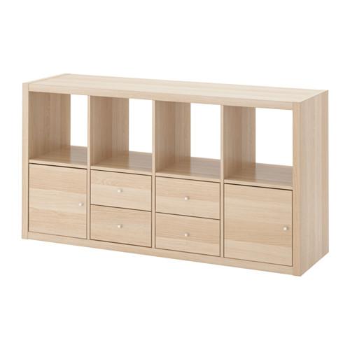 KALLAX Regal mit 4 Einsätzen - Eicheneff wlas, 147x77 cm - IKEA