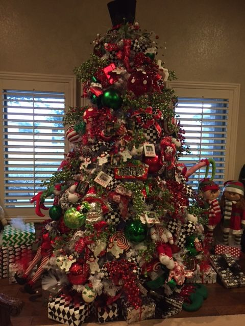 This Is My Christmas Tree Very Fun And Whimsical Lots Of Traditional Red Green And Flocked Christmas Trees Christmas Tree Design Holiday Entertaining Decor
