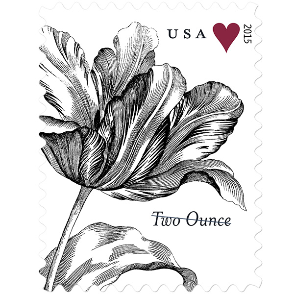 USPS 2 ounce Vintage Tulip in 2020 Love stamps, Usps