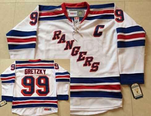 9305107ded9 Men's New York Rangers #99 Wayne Gretzky 1999-00 White CCM Vintage  Throwback Jersey