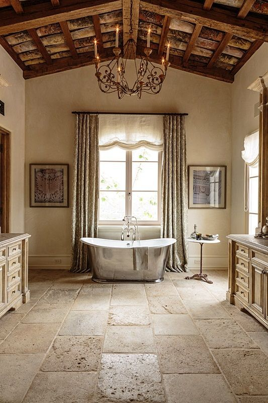 French country home flooring wall stone tile wood for A bathroom in french