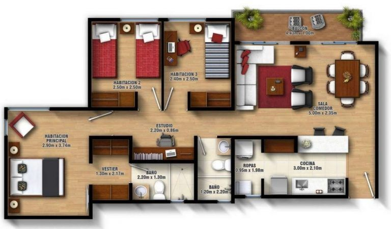 Diseño de casa de 3 habitaciones y 2 baños   Casas de un ...