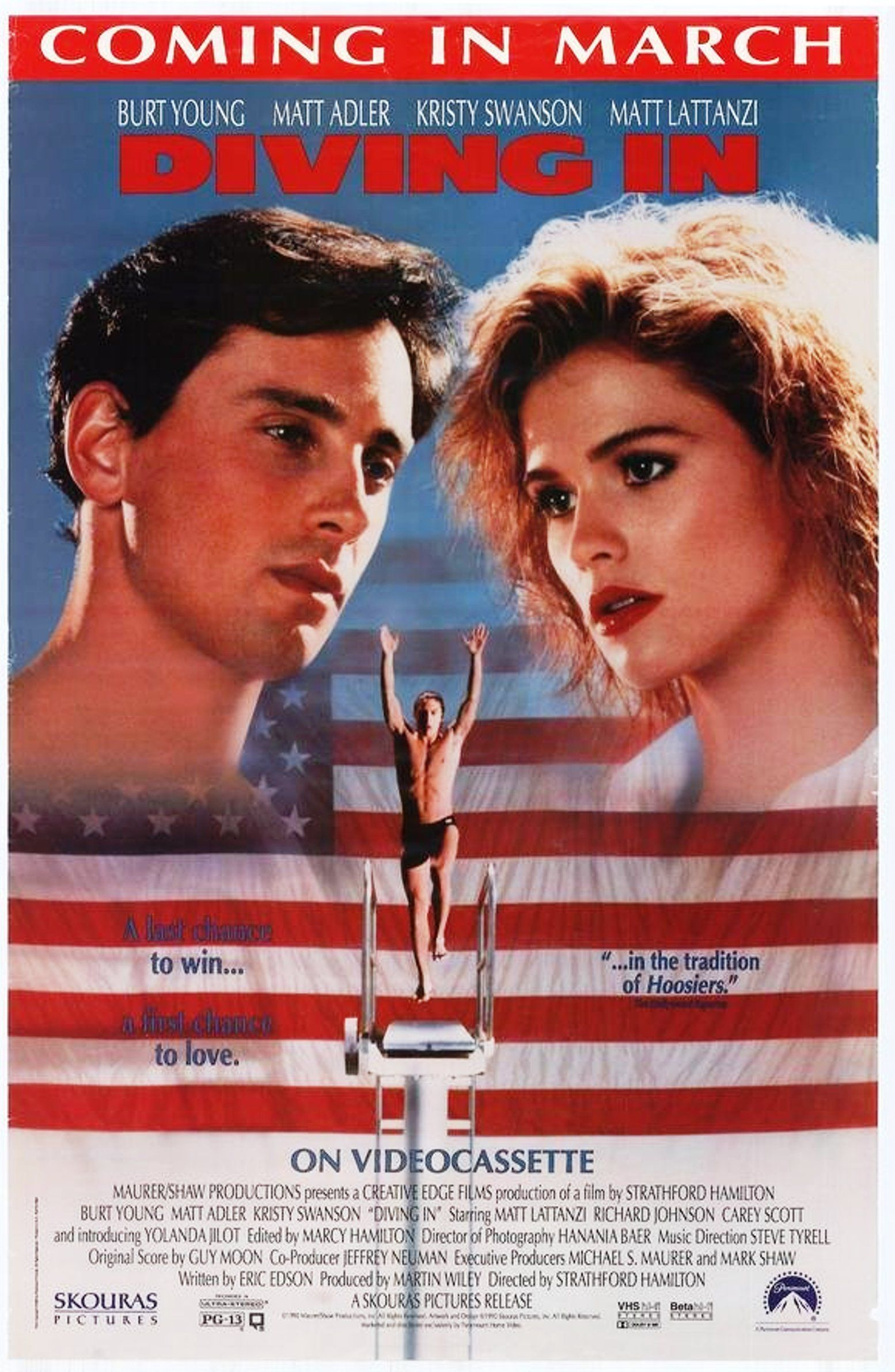 """""""Diving In"""" home video release poster, 1990. Plot A high"""