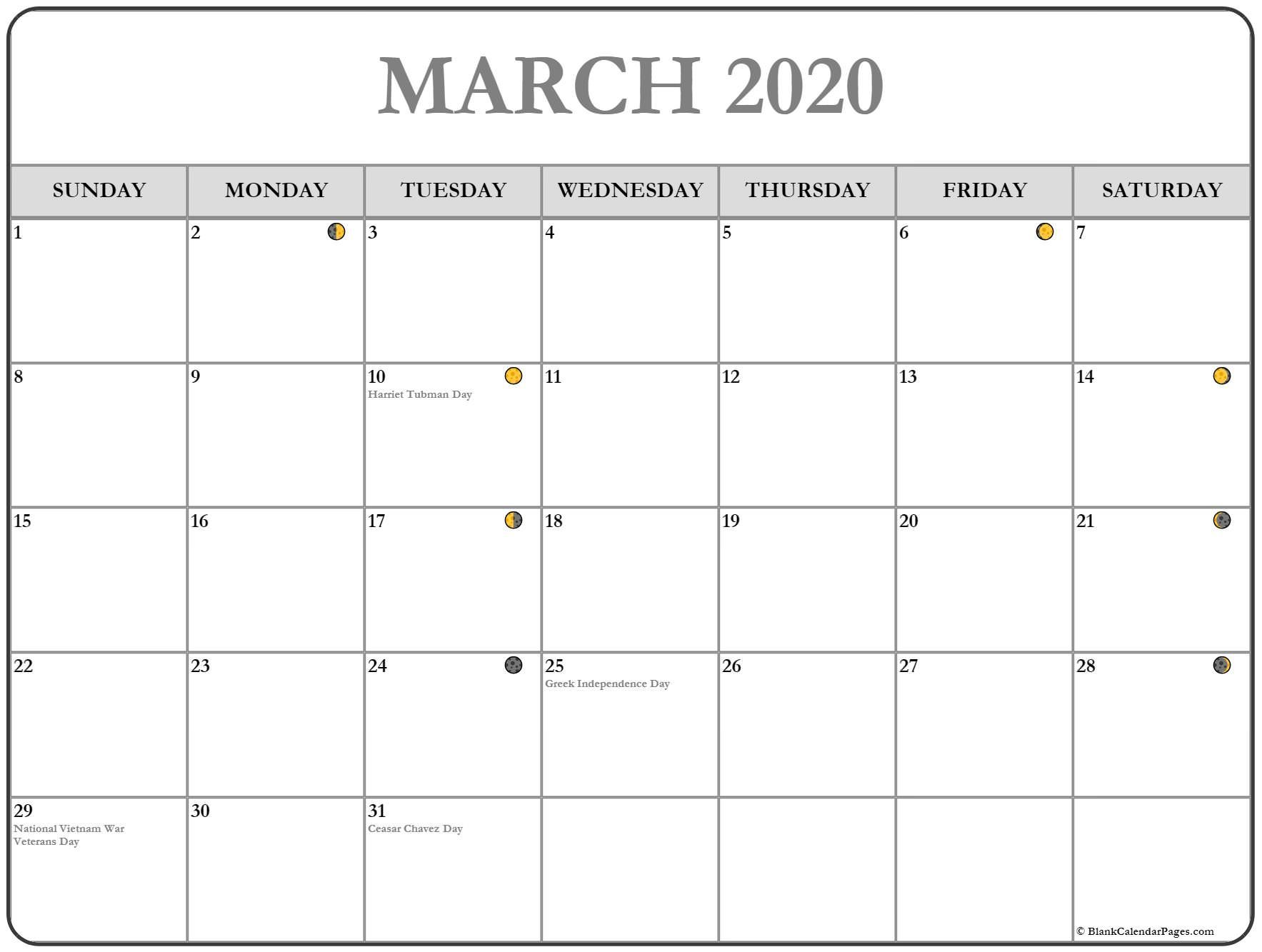 Lunar March 2020 Moon Phases Calendar New And Full Moon In 2020