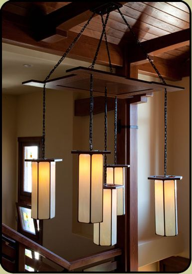 Large Craftsman Style Pendant In A Grand Foyer Foyer