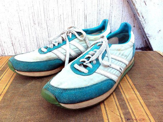 Vintage 80s Authentic Adidas Cloud Sneakers, 3 Stripe Brand