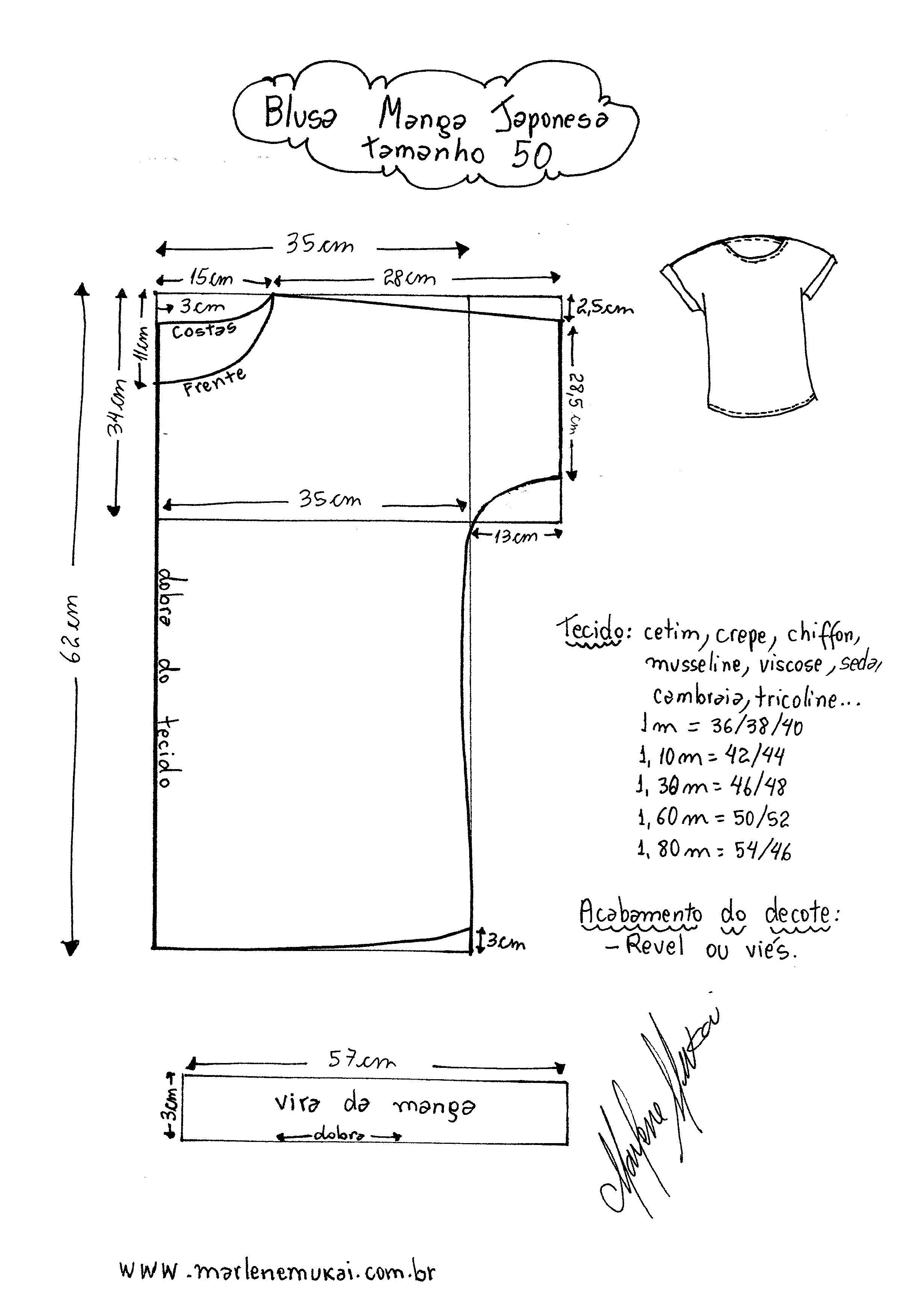 Blusa Manga Japonesa | dica de costura | Pinterest | Molde, Costura ...