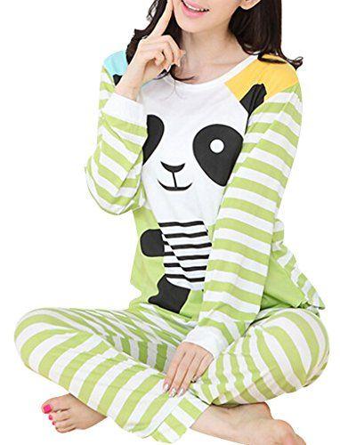 46d57acf16 VENTELAN Women Long Sleeve Panda Print Round Neck Pajamas Set Striped  Sleepwear AGreen Panda L USA Size1214     Read more at the image link.