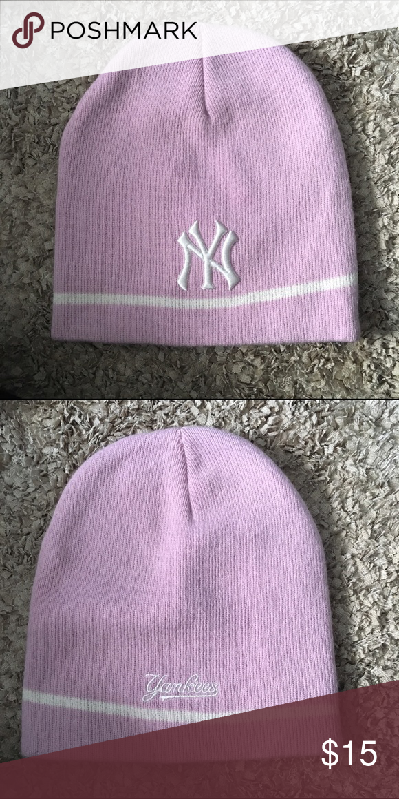 35a07ed9db6108 Pink Yankee Winter Hat Worn maybe once. Cute light pink Yankee winter hat!  Accessories Hats