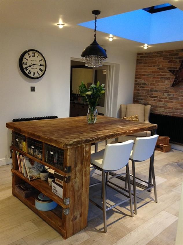 Industrial Mill Style Reclaimed Wood Kitchen Island | Condo ideas ...
