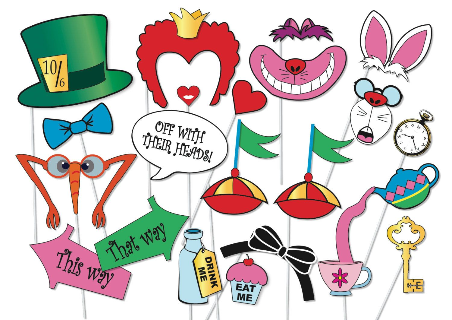 Mad Hatter Tea Party Photo Booth Props Set 20 Piece Printable