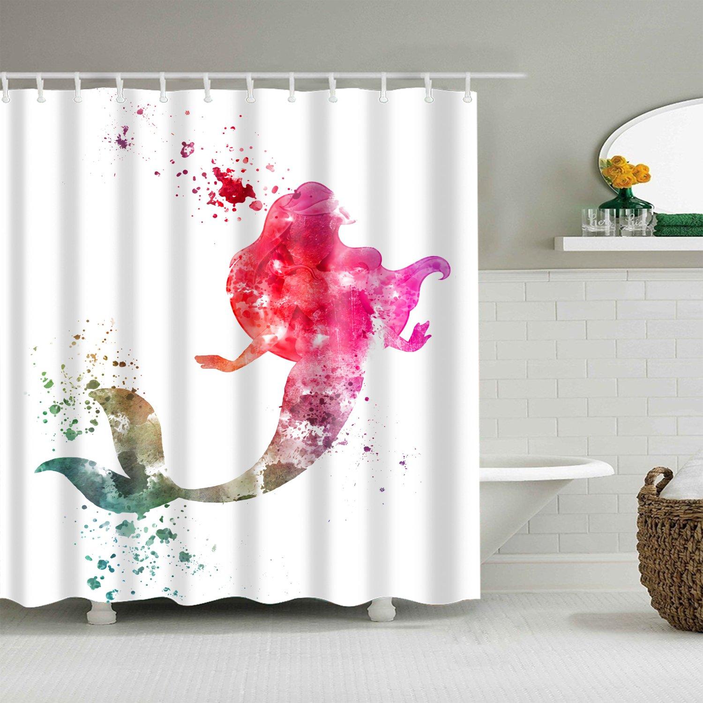 Pink Water Paint Art Little Mermaid Shadow Shower Curtain Bathroom