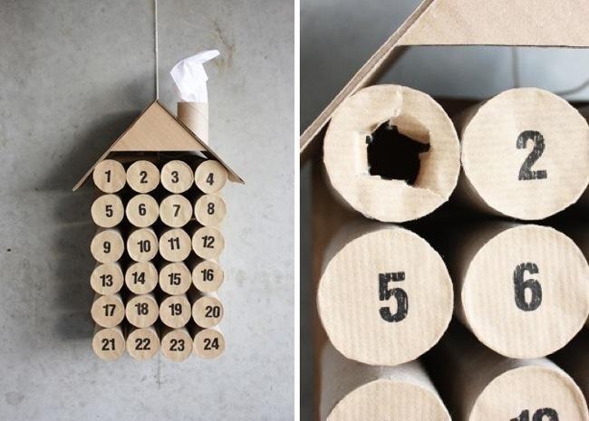 Calendario de adviento para hacer en casa con rollos de - Manualidades con rollos de papel higienico para navidad ...
