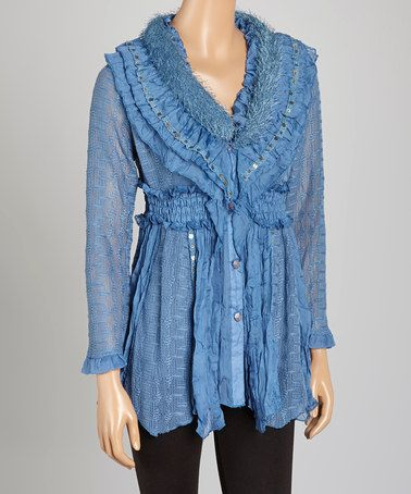 Look what I found on #zulily! Dark Blue Smocked Silk-Blend Button-Up Tunic #zulilyfinds