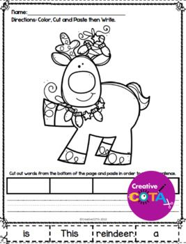 this is a no prep christmas coloring page and sentence writing resource great activity with a simple sentence to cut and paste then write