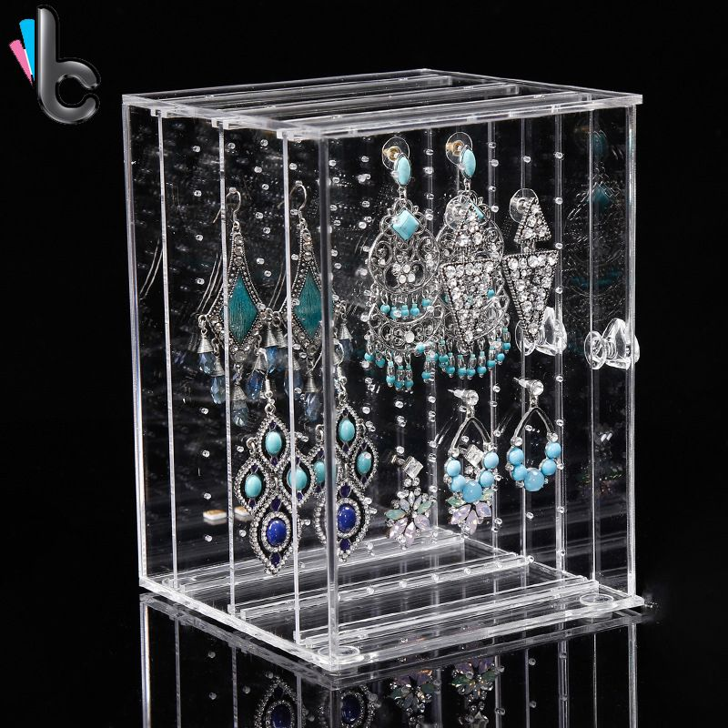 Clear Acrylic Earrings Necklace Display Case Organizer Jewelry Accessories Rack