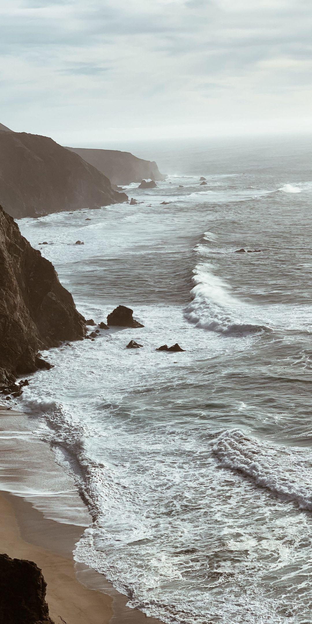 Coast Nature Sea Waves White Nature 1080x2160 Wallpaper Landscape Photography Landscape Nature