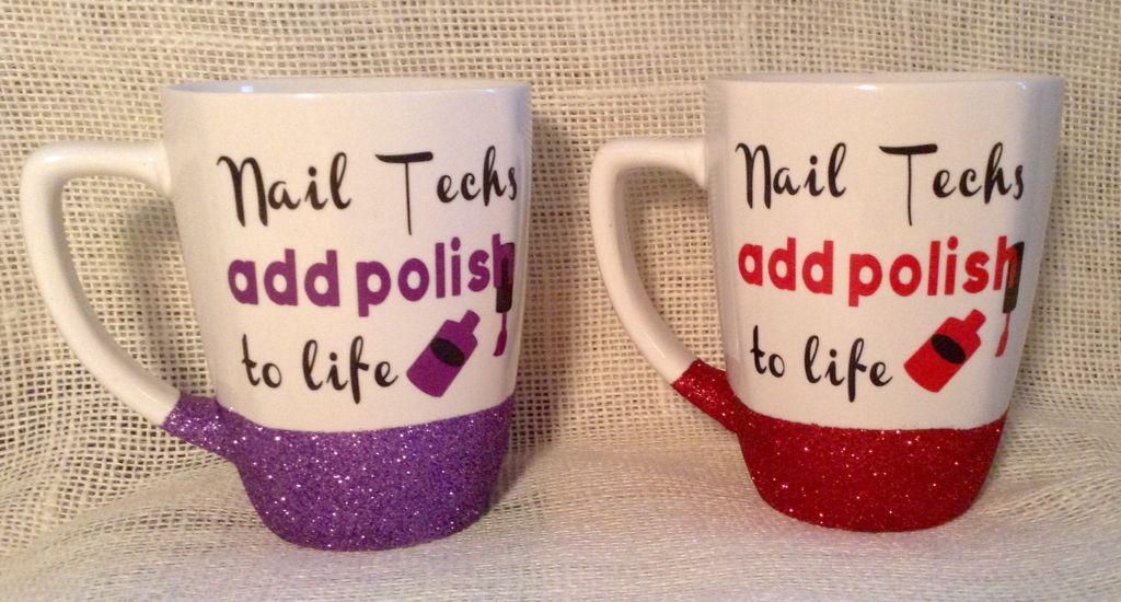 Custom Made Glitter Coffee Mug Perfect Christmas Gift For Your Favorite Nail Tech
