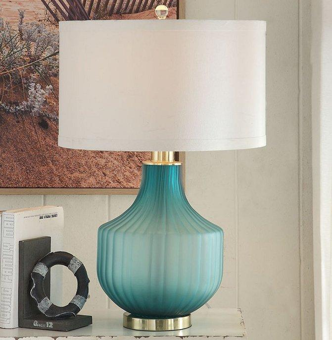 Turquoise Frost Glass Table Lamp Glass Table Lamp Frosted Lamp Lamp