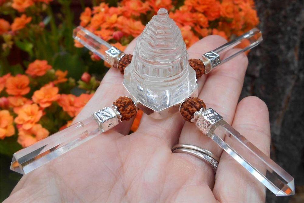 Shri Yantra Pyramid Crystal Quartz Energy Generator with