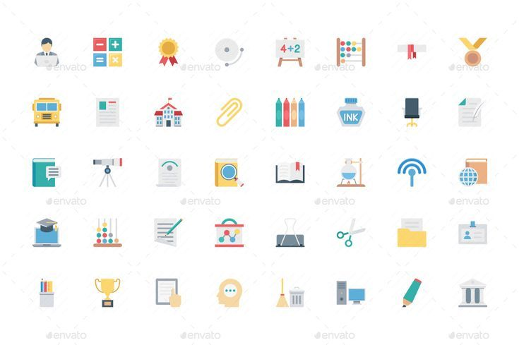 100 Education Color Vector Icons Abacus Book Calendar