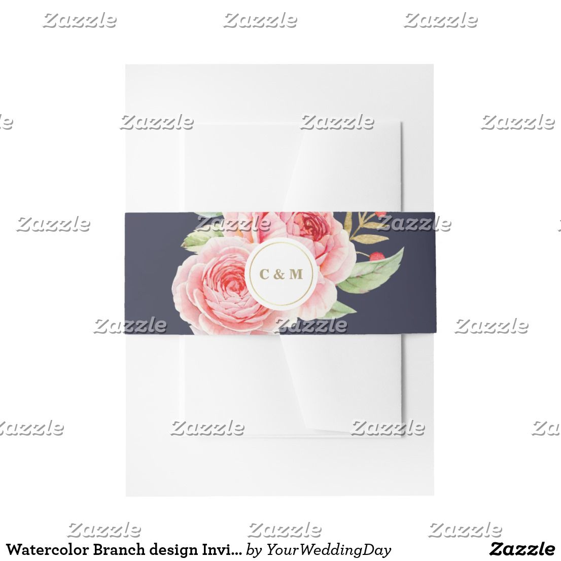 Watercolor branch design invitation belly bands invitation belly