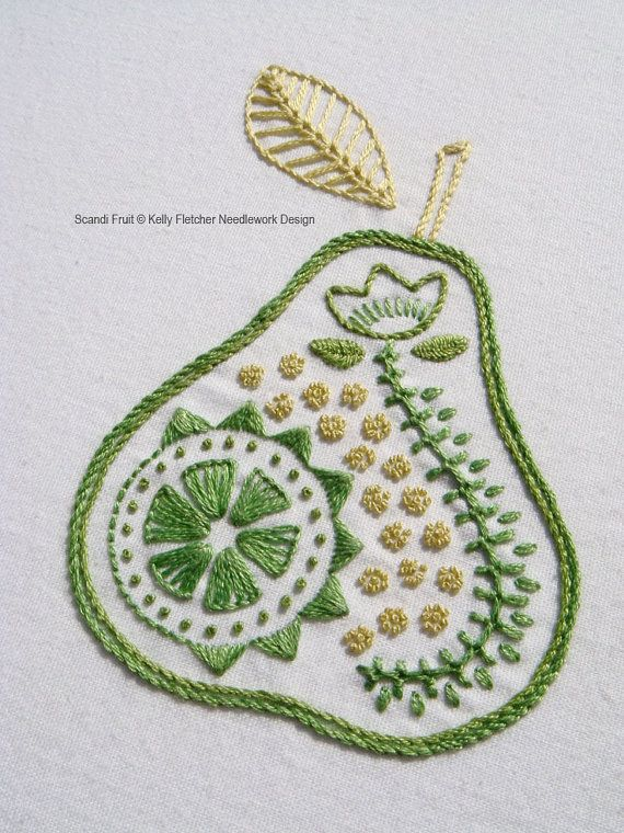 Scandi fruit modern scandinavian hand embroidery pattern