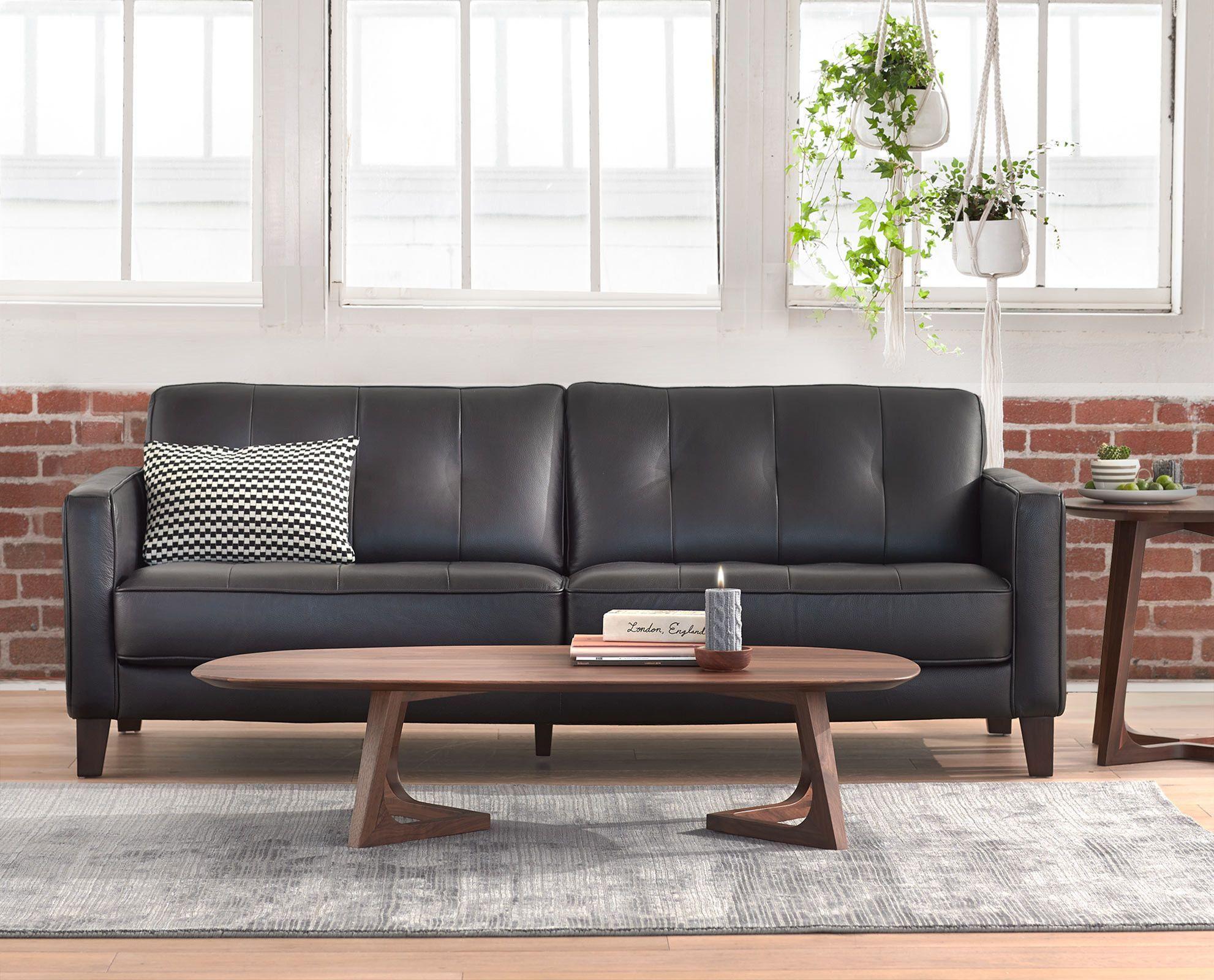 clean modern lines define the gregata leather sofa featuring a row rh pinterest com