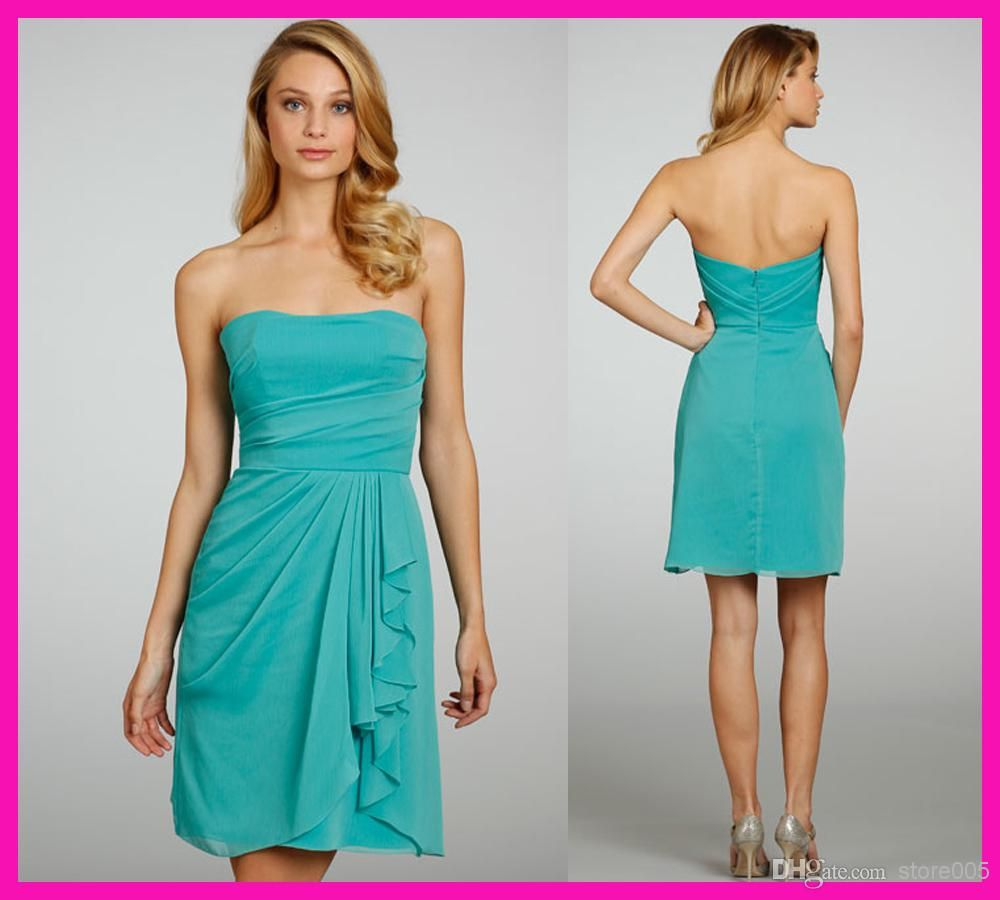 Turquoise Hunter Strapless Short Chiffon Modest Country Style ...