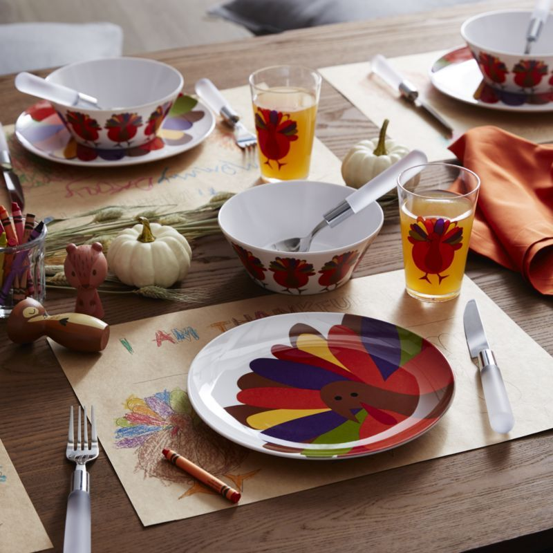 Crate  Barrel Cheerful Turkey Melamine Bowl Products