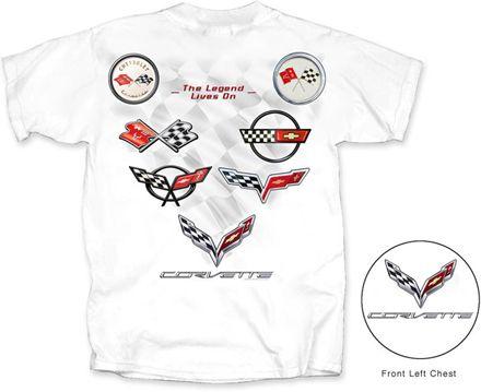 C1 C7 Corvette Logos White T Shirt Mens Tshirts Great T Shirts T Shirt